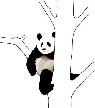 Panda On A Tree clip art