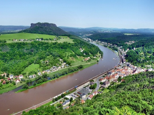 panoramic view to the lilienstein elbe k�nigstein