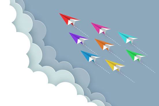 paper airplane colorful fly up to the sky between cloud natural landscape go to target startup leadership concept of business success creative idea illustration vector cartoon