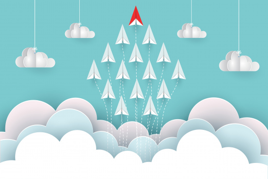 paper airplane red and white are fly up to the sky between cloud natural landscape go to target startup leadership concept of business success creative idea illustration vector cartoon