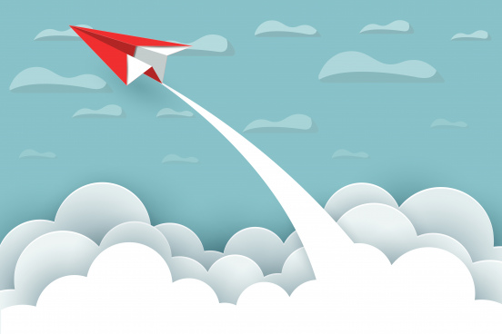 paper airplane red fly up to the sky between cloud natural landscape go to target startup leadership concept of business success creative idea illustration vector cartoon
