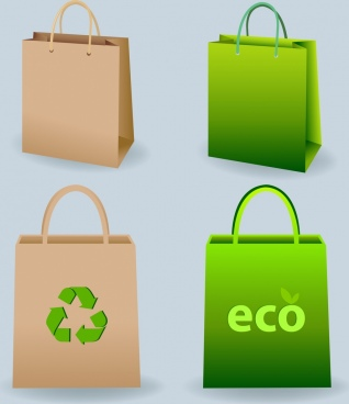 paper bags templates green eco style 3d design