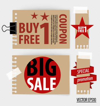 paper banners sale elements vector