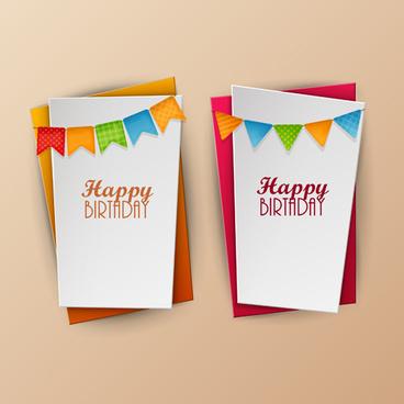 paper birthday banner vector design