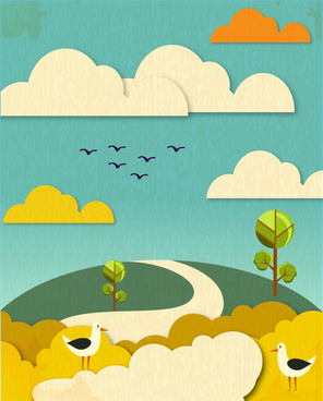 paper cartoon natural scenery vector graphic