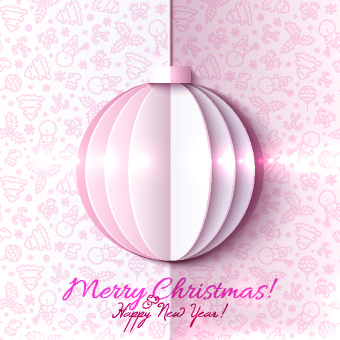paper christmas ball vector backgroun