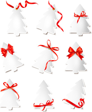paper christmas tree with ribbon cards vector