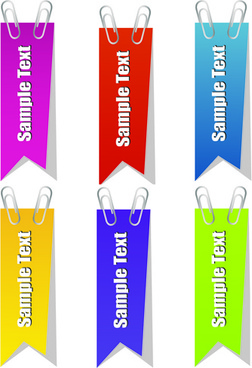 paper clip and tags vector