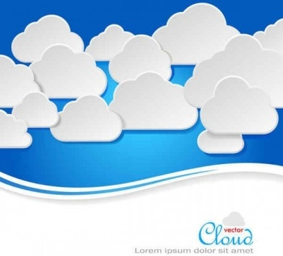 paper clouds background art vector set