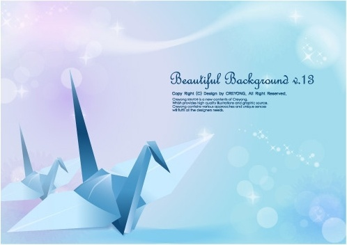 paper cranes and vector fantasy background