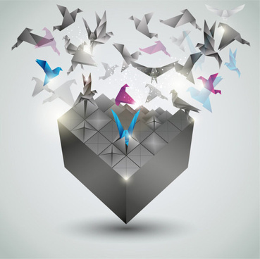 paper cranes fly vector backgrounds