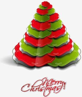 paper cut christmas tree design vector