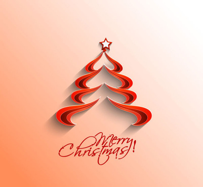 paper cut christmas tree design vector