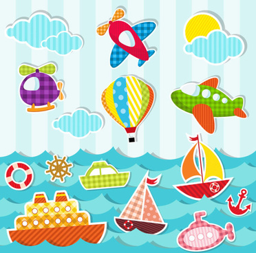 paper cut of cartoon maritime transport elements vector