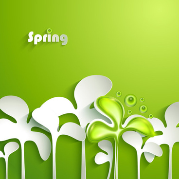 paper cut spring elements background vector