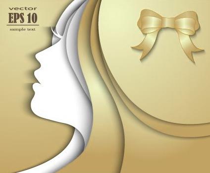 paper girl portrait background vector