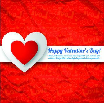 paper heart valentine day vector background