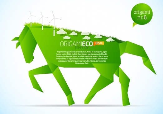 ecology icon green horse origami sketch environmental elements