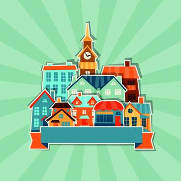 paper house vector design set
