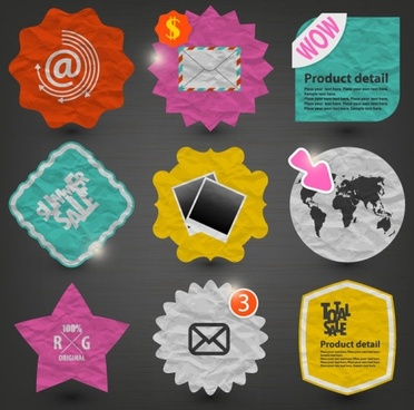 paper label stickers 01 vector