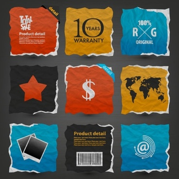 paper label stickers 02 vector
