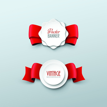 paper labels and red ribbon vector