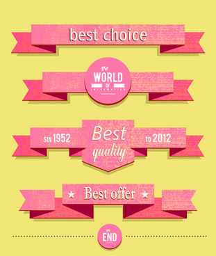 paper ribbon banner set