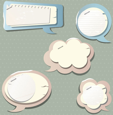 paper speech bubbles label stickers vector03