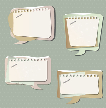paper speech bubbles label stickers vector04