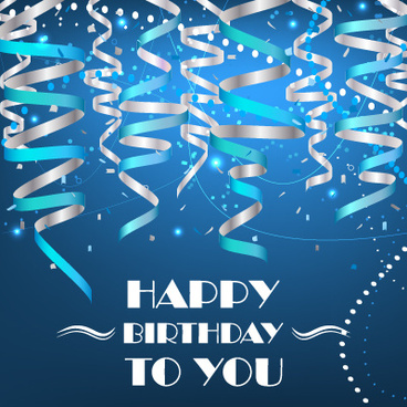 paper tapes with confetti happy birthday background vector