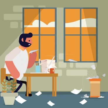 paper work painting man messy room cartoon design