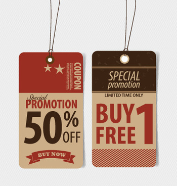 paperboard sale tags vector