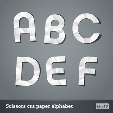 papercut letters 01 vector