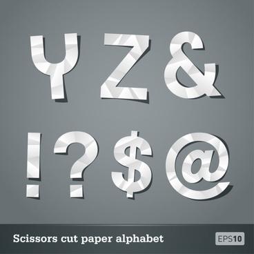 papercut letters 05 vector