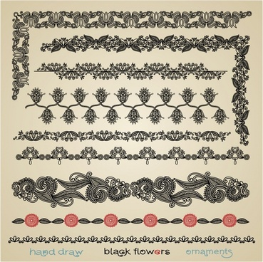 border decorative elements collection retro seamless symmetric shapes