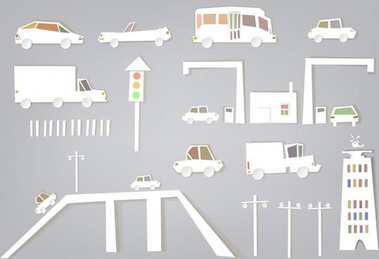 papercut vector cartoon traffic