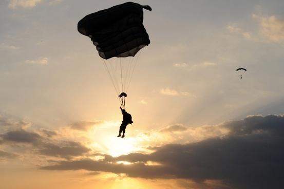 parachute parachuting person