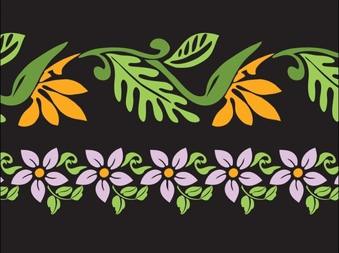 flowers vector with seamless style on dark background