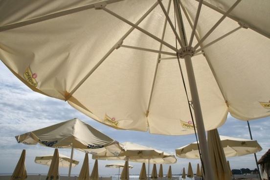 parasols beach baltic sea