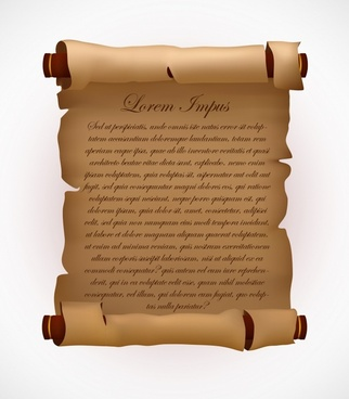 royal paper scroll template 3d ragged vintage design