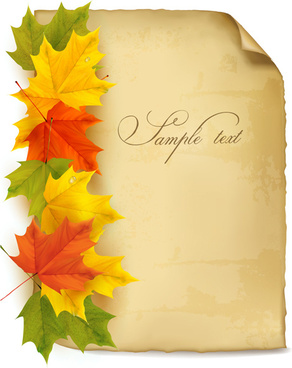 Parchment with autumn leaves background vector