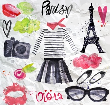 paris elements graffiti on crumpled paper vector