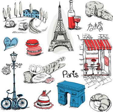 paris symbols elements vector