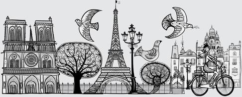 paris symbols elements vector