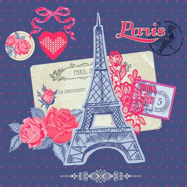 paris with romantic elements vector