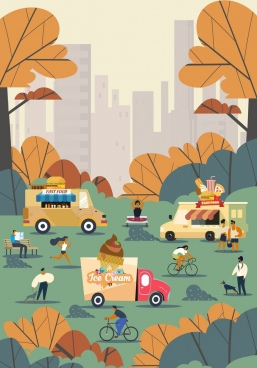 park background people activities fastfood truck icons