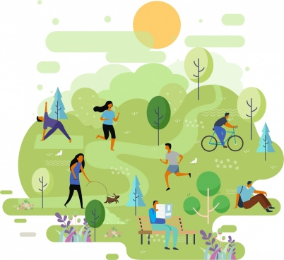 park background people activities icons cartoon design