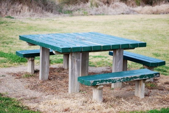 park bench and seats