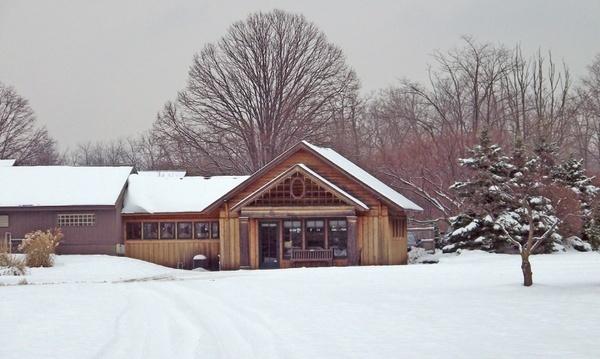 park building in snow