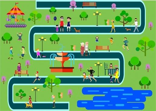 park scheme design with human activities illustration
